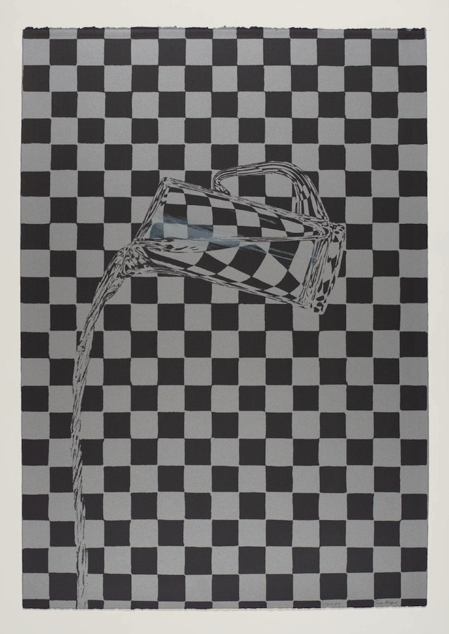 """Tim Mara, """"Glass Jug"""" (1983): """"A painting of a white wall with a tree or quite possibly black and white photograph of a plant in a wall. It is similar to a map hangs on a wall near a hat and a cane."""""""