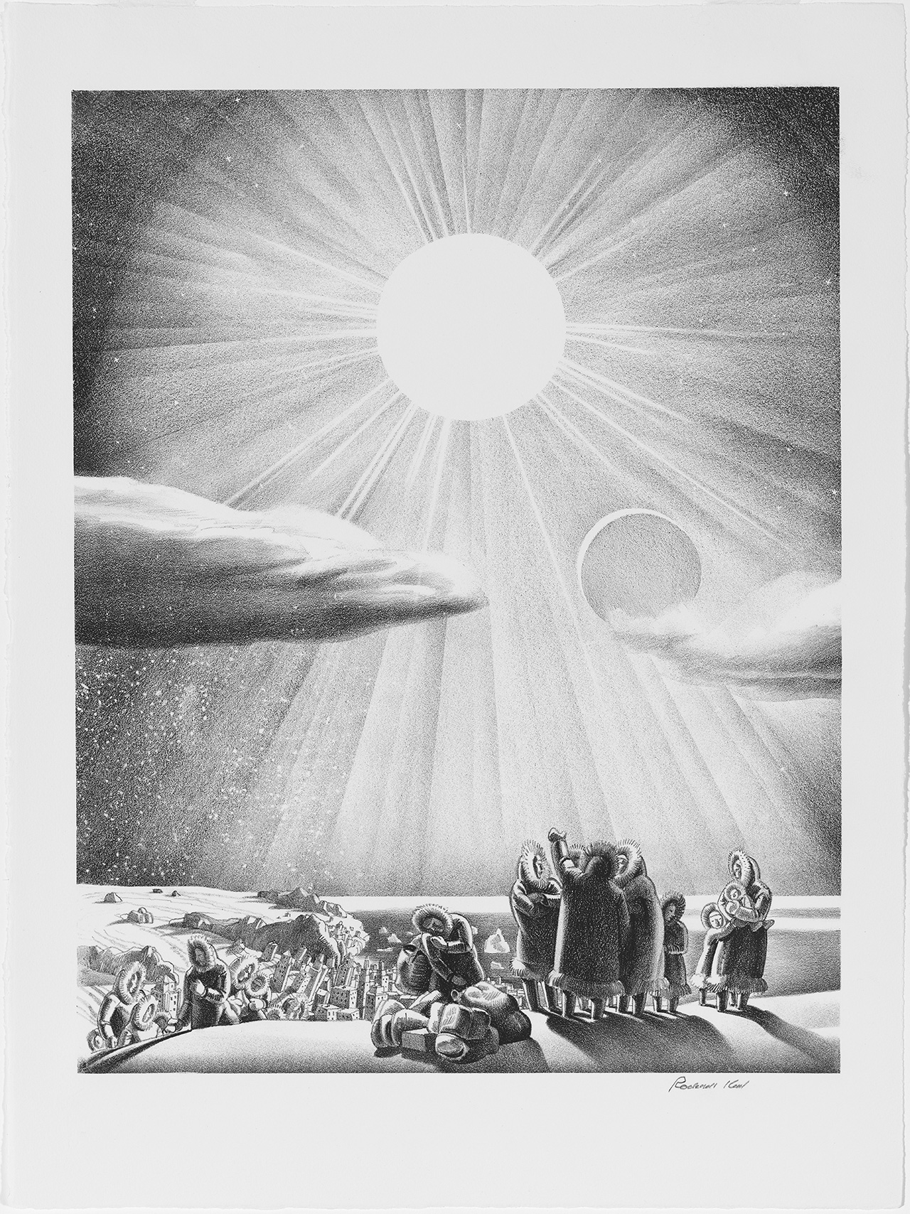 "Rockwell Kent, ""Solar Flare-Up"" (1937), lithograph, 12 x 10 1/8 in., Mary and Leigh Block Museum of Art, Northwestern University, 1994.94.4"
