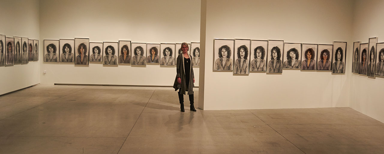 Suzy Lake with her exhibition at the Art Gallery of Ontario (photo by Veronika Roux-Vlachova)
