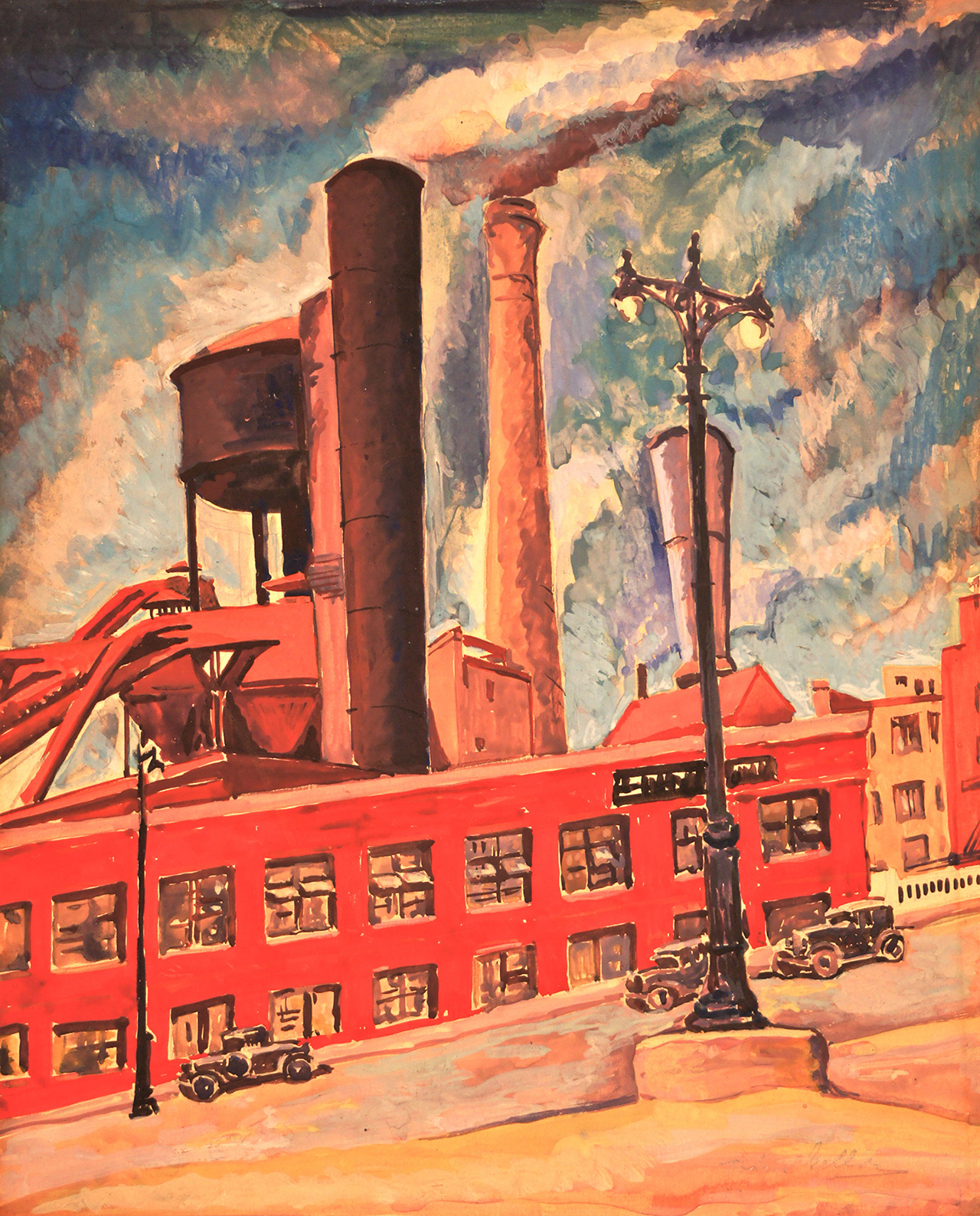 "Todros Geller, ""Untitled (Factory)"" (c.1930), watercolor, 12 x 10 in., Collection of Bernard Friedman"