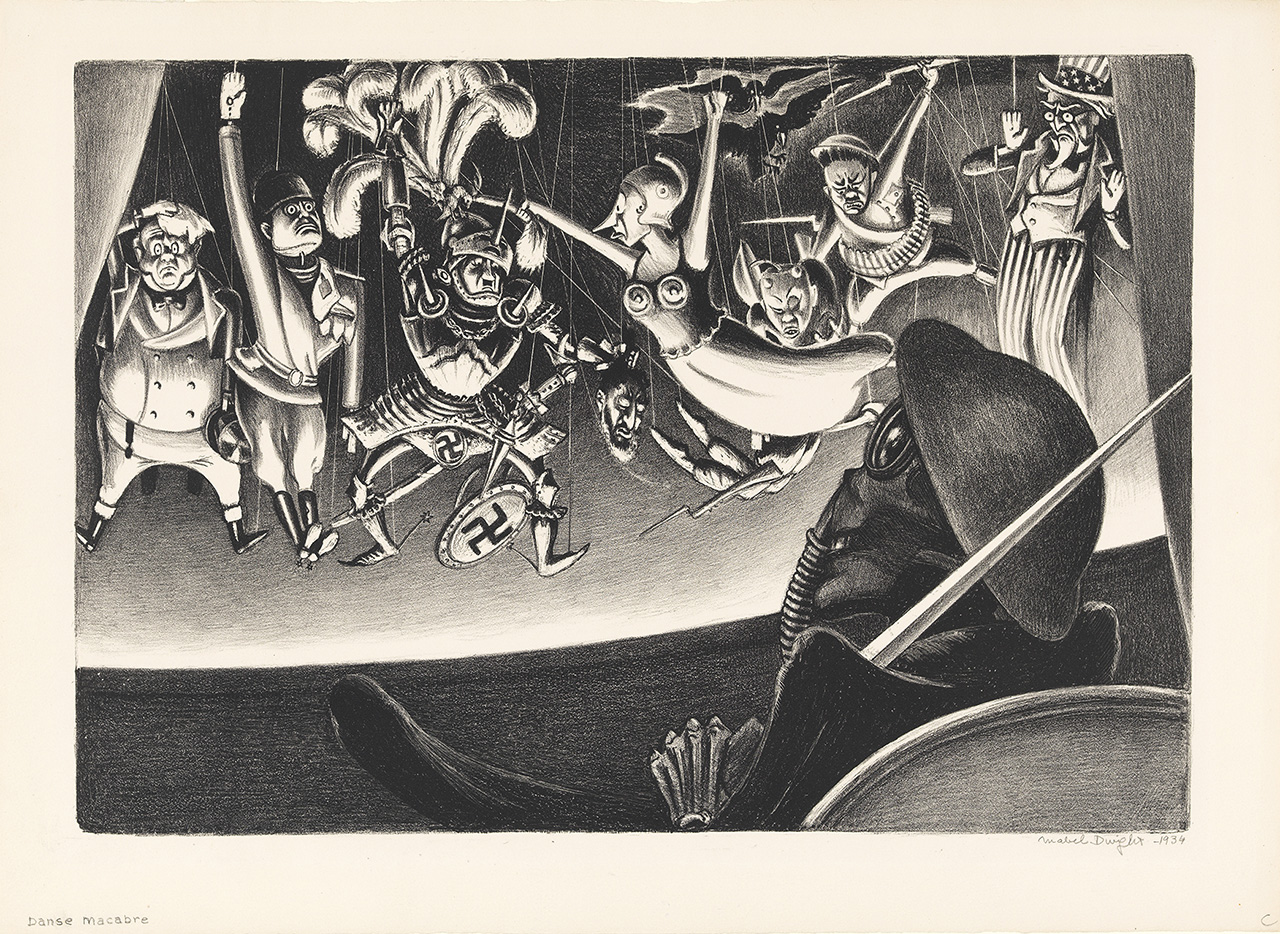 "Mabel Dwight, }Danse Macabre"" (c.1934), lithograph, 11 3/8 x 15 3/4 in., Mary and Leigh Block Museum of Art, Northwestern University, 1995.59"