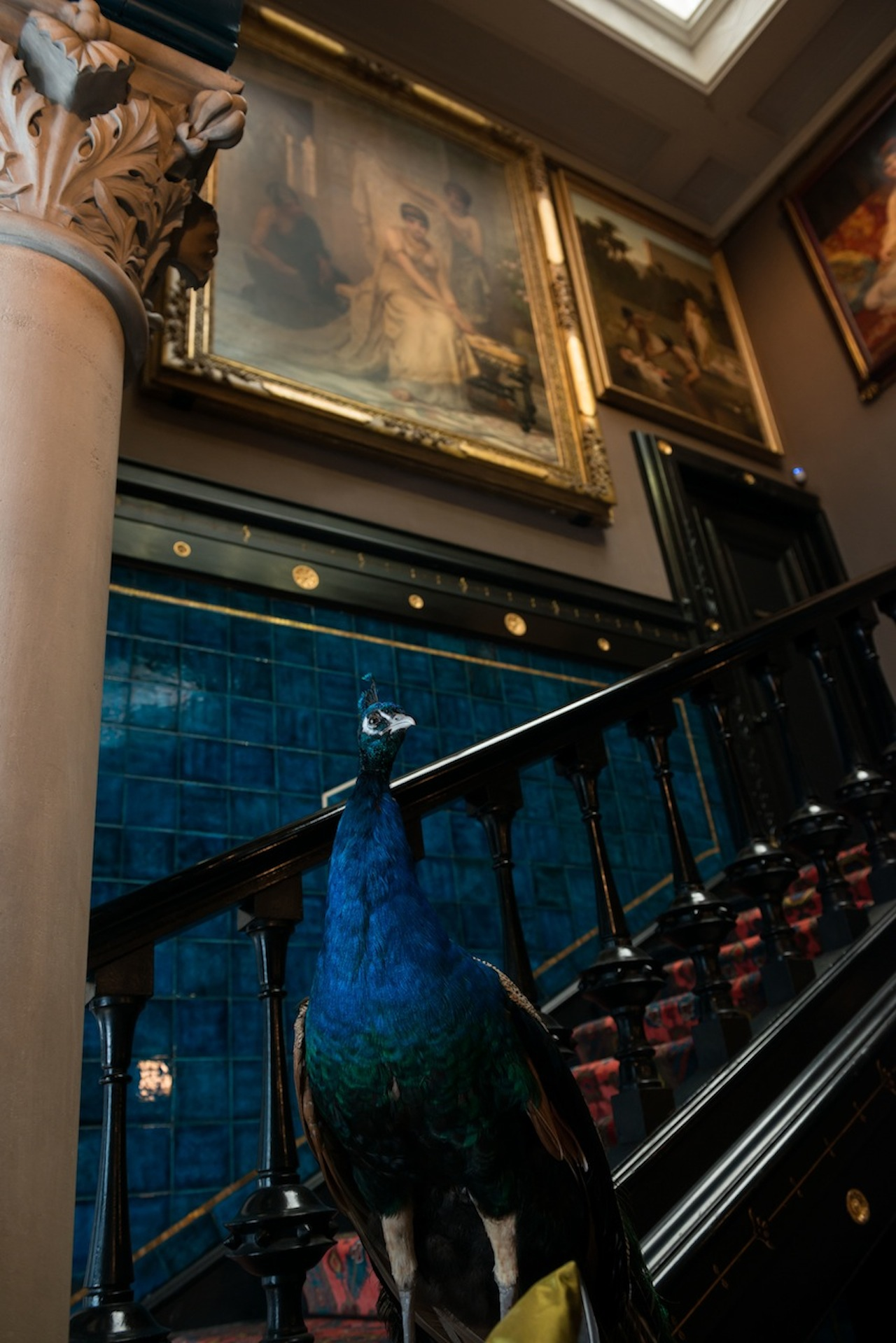 'A Victorian Obsession: The Pérez Simón Collection,' installation view of staircase, Leighton House Museum (photo by Todd-White Photography) (click to enlarge)