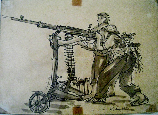 "Co Tan Long Chau, ""Air Defence Team"", 1960s battlefield sketch, courtesy Ho Chi Minh City Fine Arts Museum"