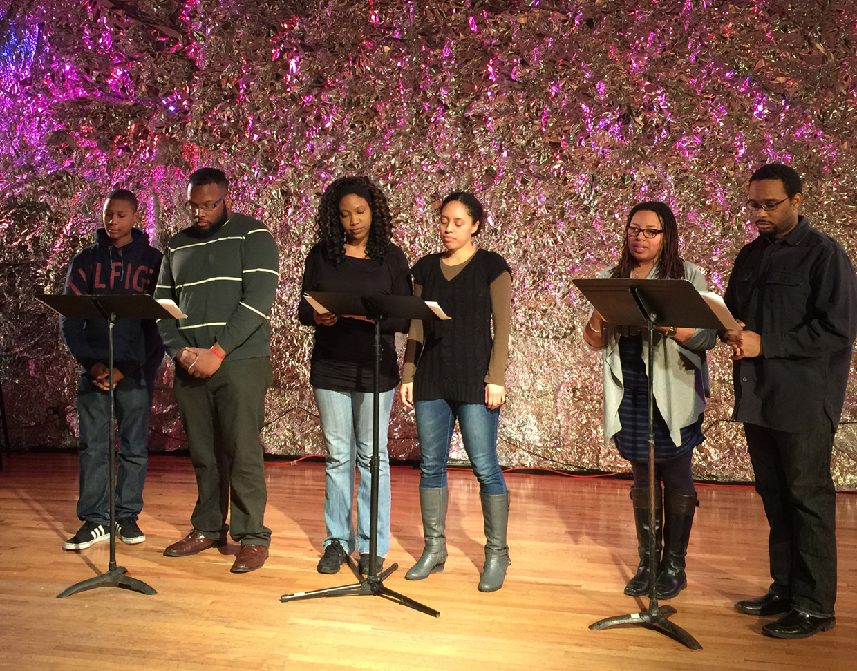 """Jay Mazyck, Justin Thomas, Lauren Lattimore, Wi-Moto Nyoka, Courtney Harge,and Seth Diggs reading Mary Burrill's """"Aftermath"""" at JACK, Brooklyn, Feb. 8, 2015. (photo by author for Hyperallergic)"""