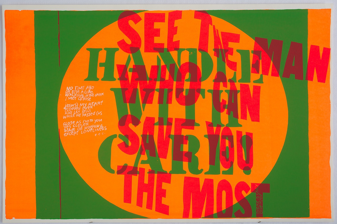 Corita Kent, handle with care, 1967, Collection of the Frances Young Tang Teaching Museum and Art Gallery, Skidmore College