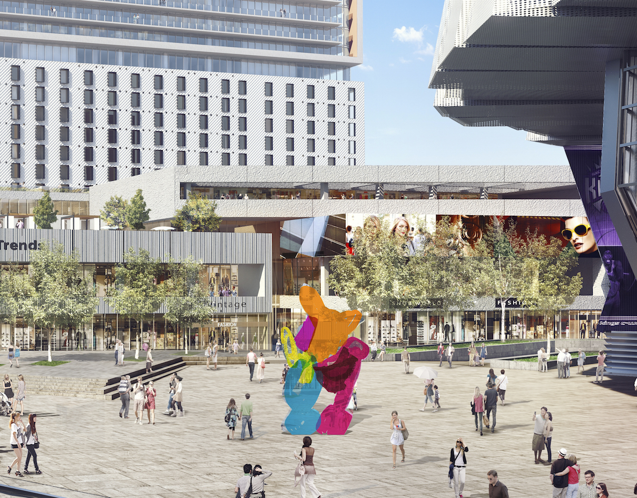 A rendering of the Jeff Koons sculpture in the Entertainment and Sports Center plaza (courtesy the Sacramento Kings)