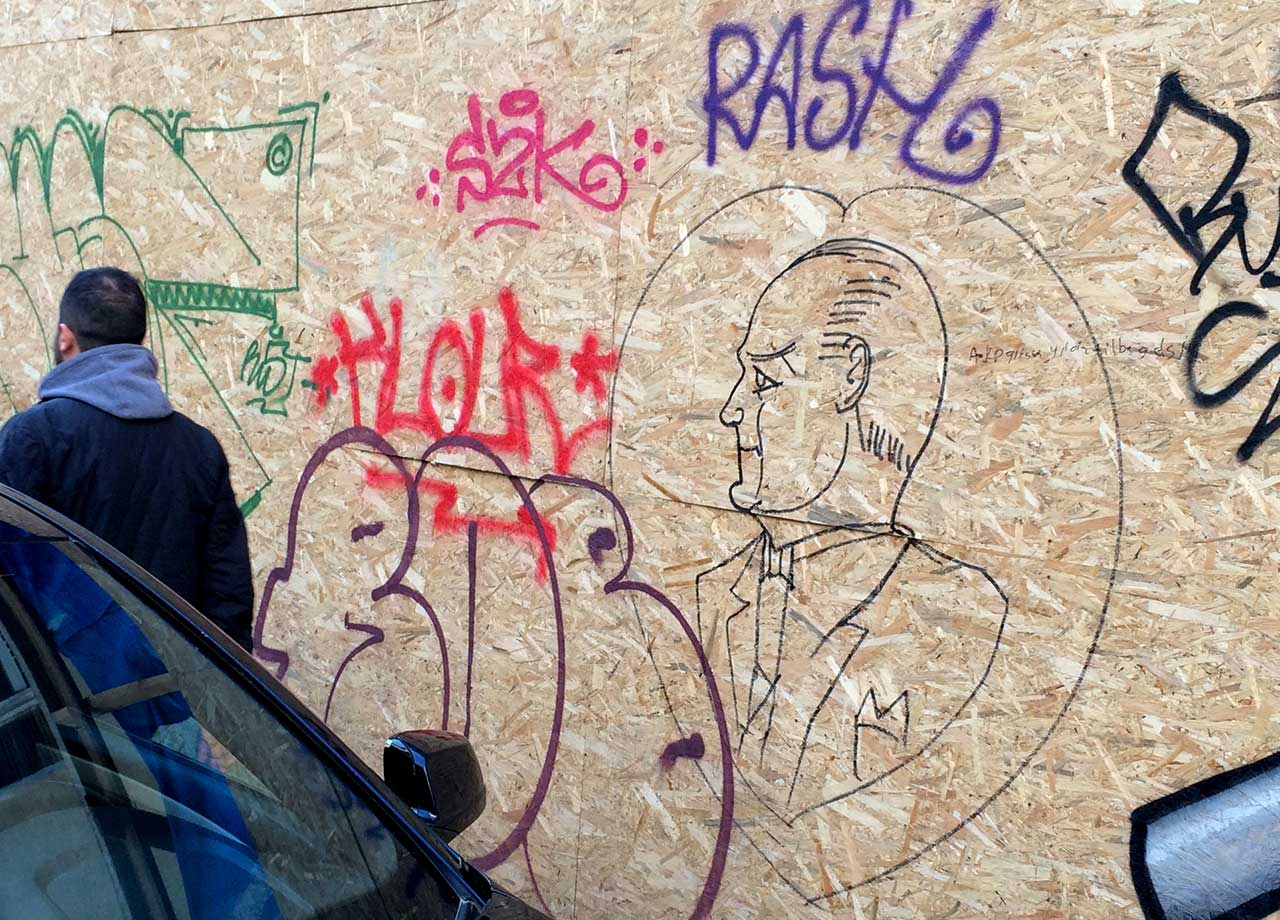 Anti-government Atatürk graffiti in Istanbul, December 2014 (all photos by the author for Hyperallergic)