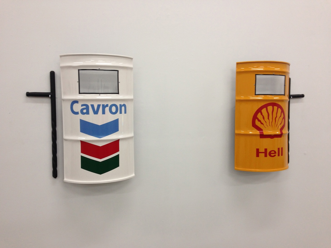 "Marco Ramirez ERRE, ""Petrochinga"" (2014), riot shield made of a recycled oil barrel, 23 x 34 inches"