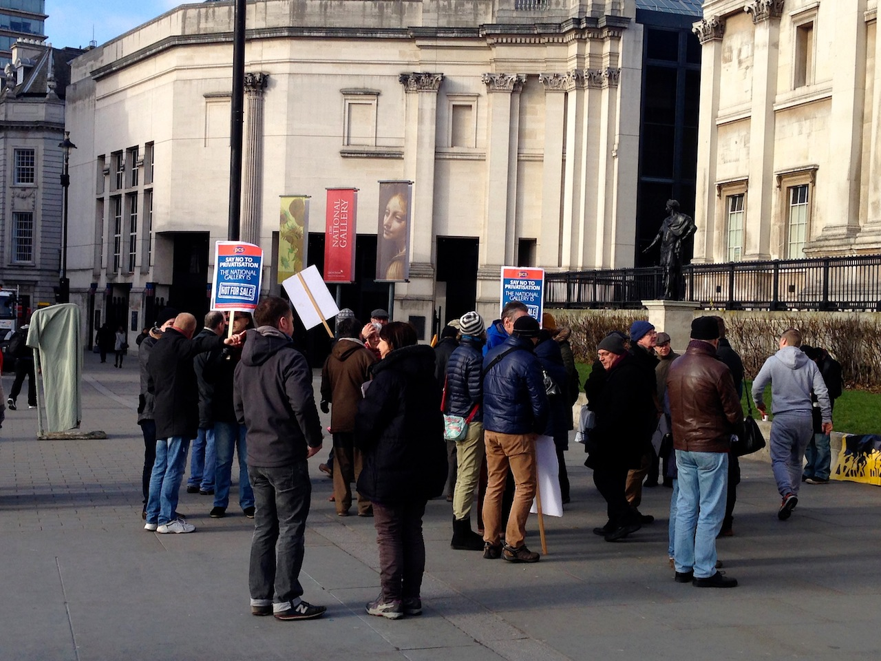 Picketers outside the National Gallery