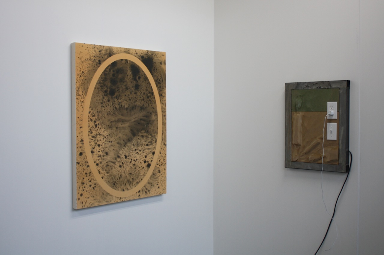 Work by Sayre Gomez and Neïl Beloufa at François Ghebaly's booth.