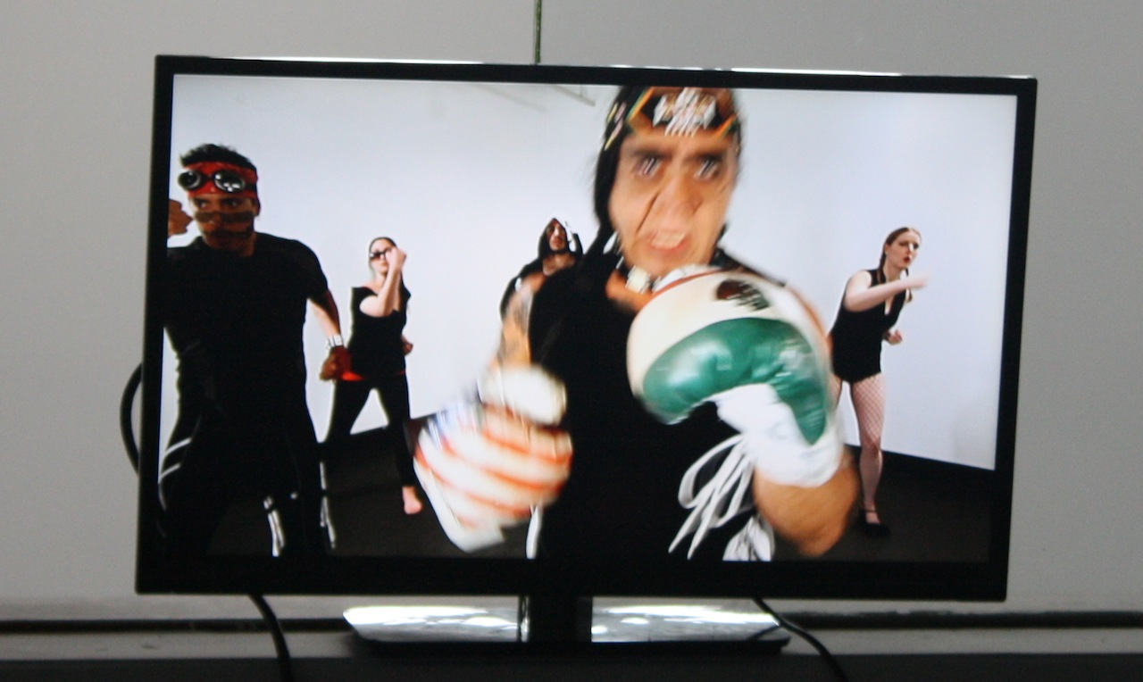 """Mariah Garnett, Guillermo Gómez-Peña, and Roberto Sifuentes, """"Mexercize"""" (2013), HD, 20:00"""