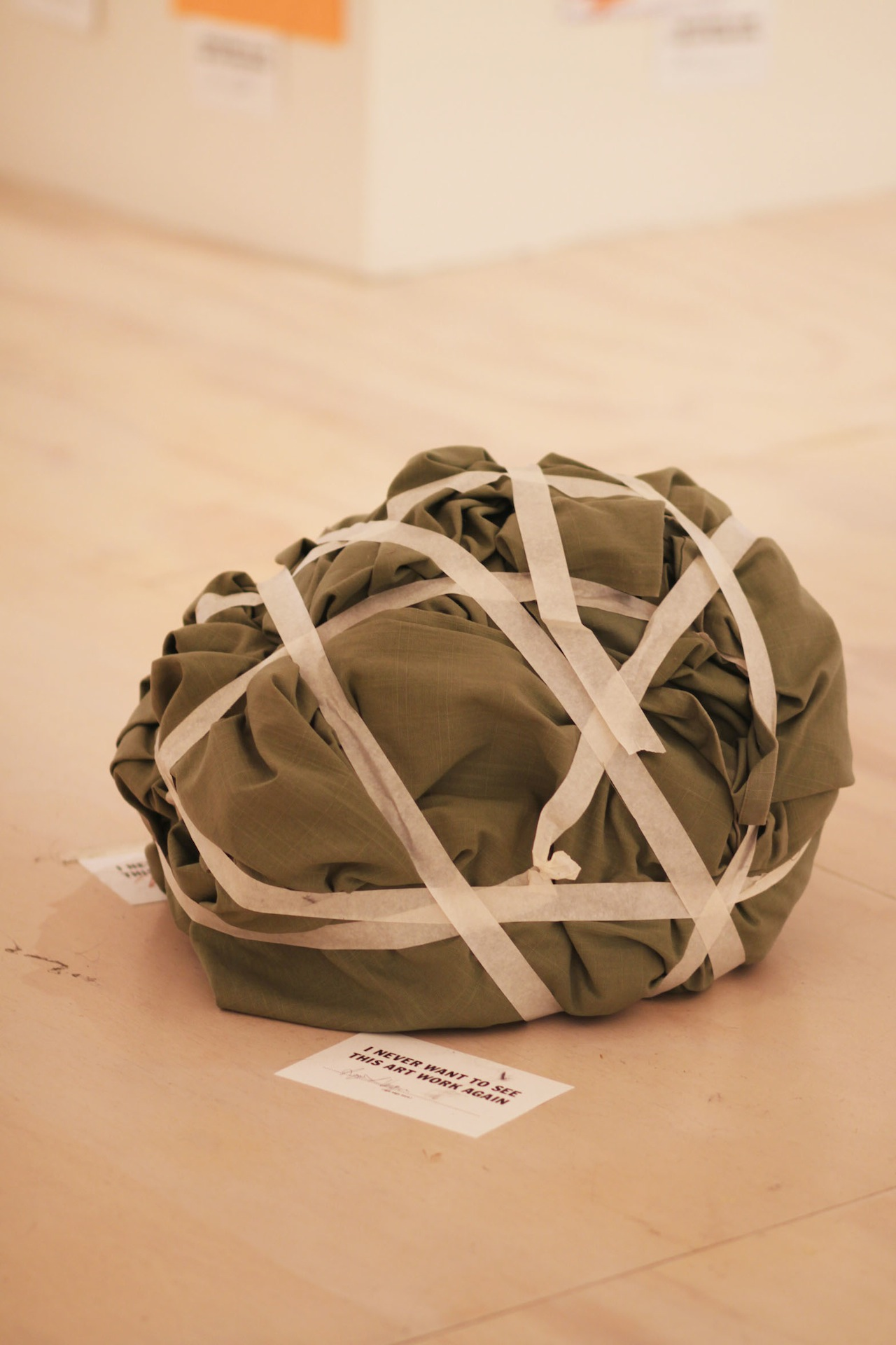 A crumpled-up blanket wrapped in tape.
