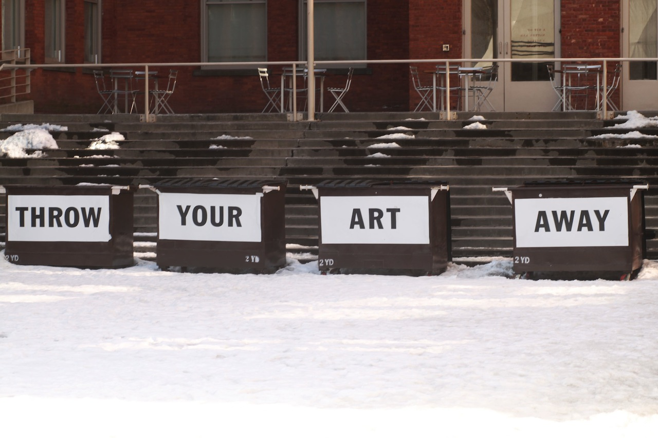 Throw away your precious art at Bob and Roberta Smith's 'Art Amnesty' at MoMA PS1 (all photos by the author for Hyperallergic)