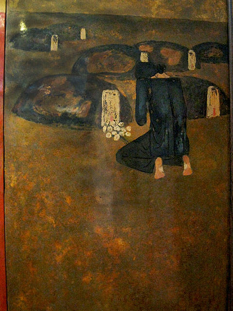 """Le Thi Kim Bach, """"For The Peace Of The Country"""", detail, lacquer on wood, 2000, Courtesy Ho Chi Minh City Fine Arts Museum"""
