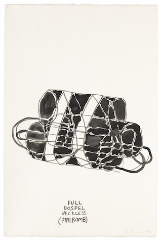 "Al Taylor, ""Full Gospel Neckless (Pipe Bomb)"" (1997), pencil and gouache on paper, 22 1/2 x 14 3/4 inches"