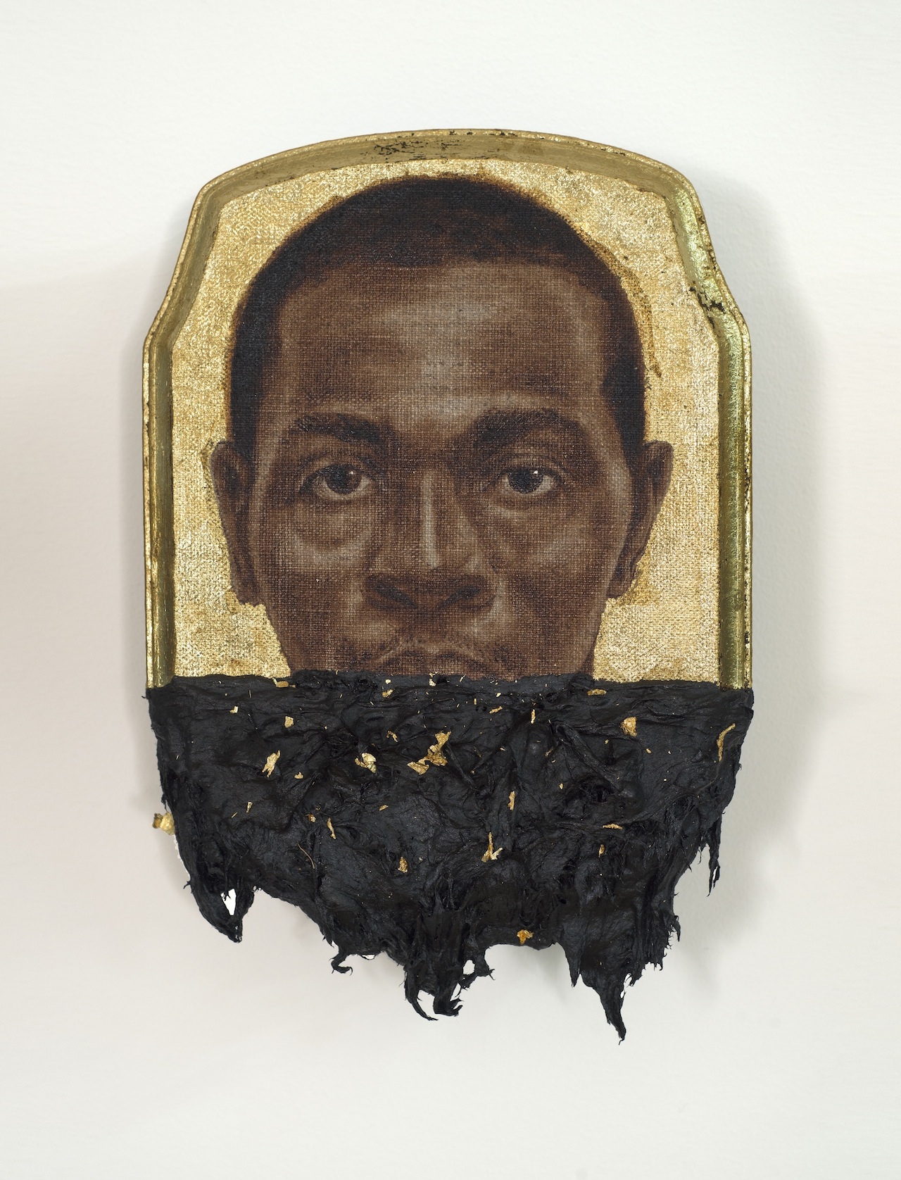 "Titus Kaphar, ""Jerome II"" (2014), oil, gold leaf and tar on wood panel, 10 x 7 x 1 inches"