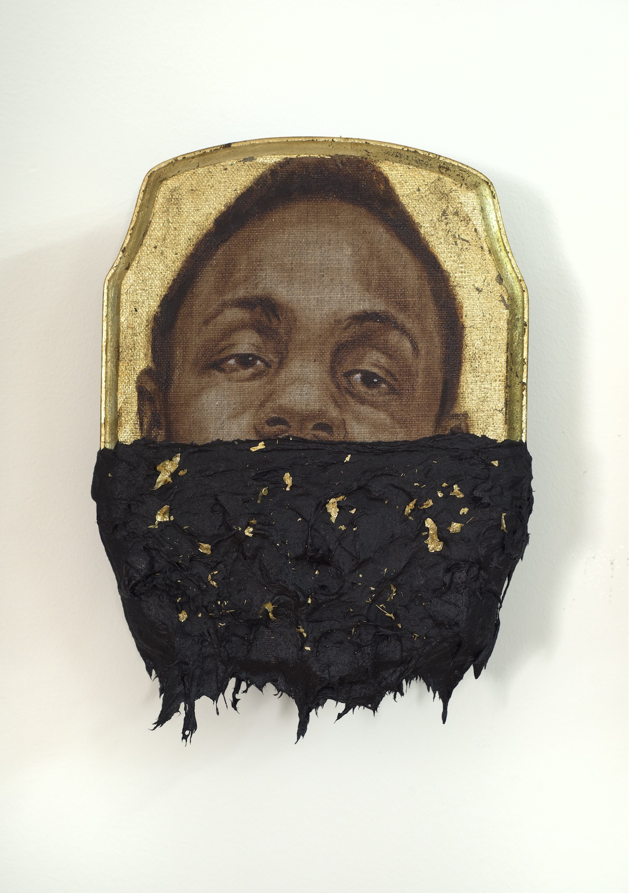 "Titus Kaphar, ""Jerome III"" (2014), oil, gold leaf and tar on wood panel, 10 x 7 x 1 inches"