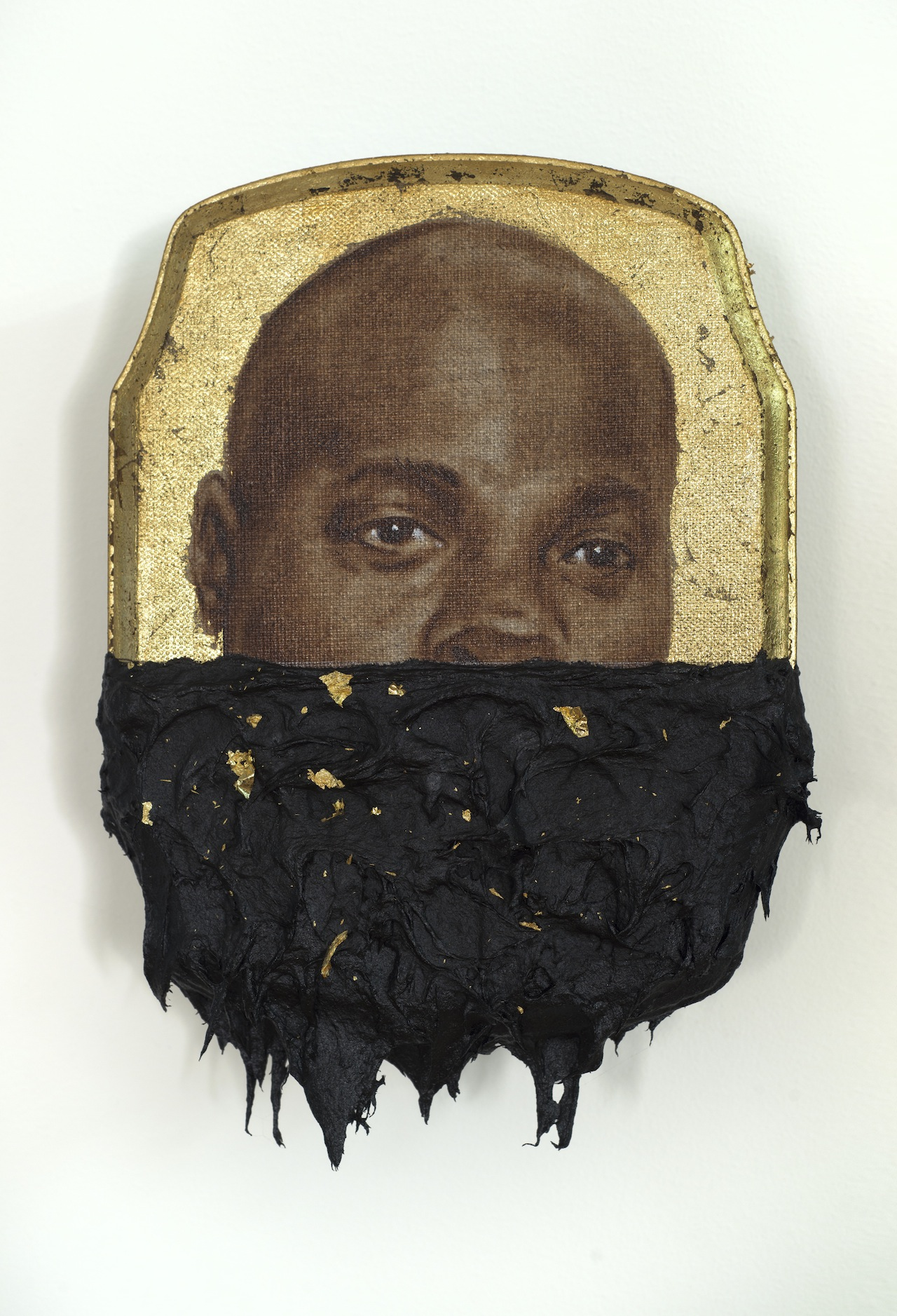 "Titus Kaphar, ""Jerome IV"" (2014), oil, gold leaf and tar on wood panel, 10 x 7 x 1 inches"