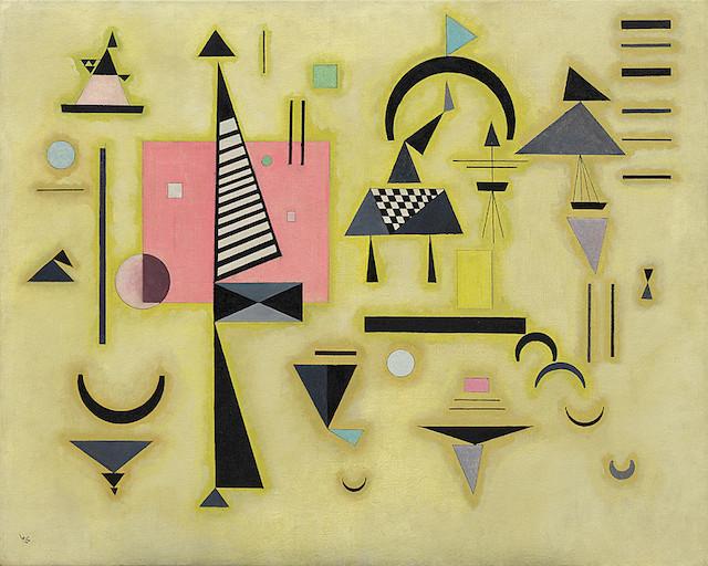 "Wassily Kandinsky, ""Decisive Pink"" (1932), oil on canvas (Solomon R. Guggenheim Museum, New York, via WikiArt)"
