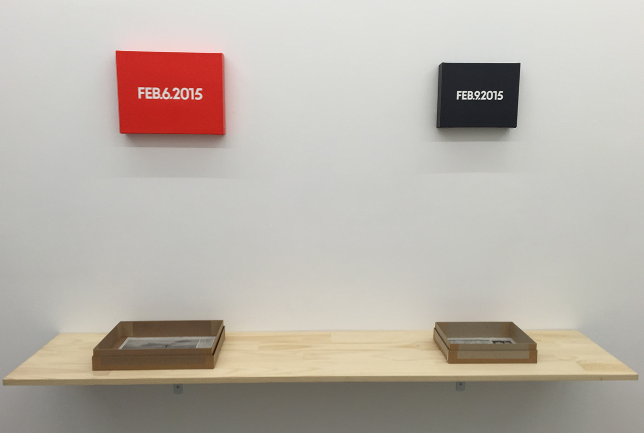 A view of Eric Doeringer's On Kawara inspired exhibition. (photo by the author for Hyperallergic)