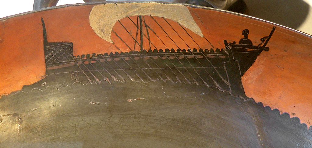 Boat on an Attic black-figure cup (520 BC) (via Cabinet des Médailles)