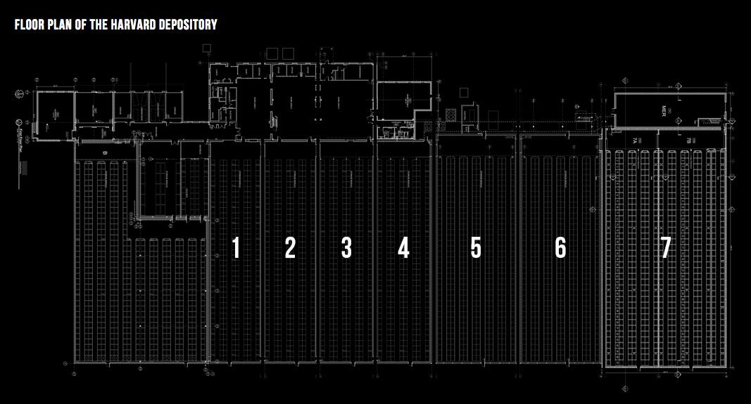 Floor plan of the Harvard Depository