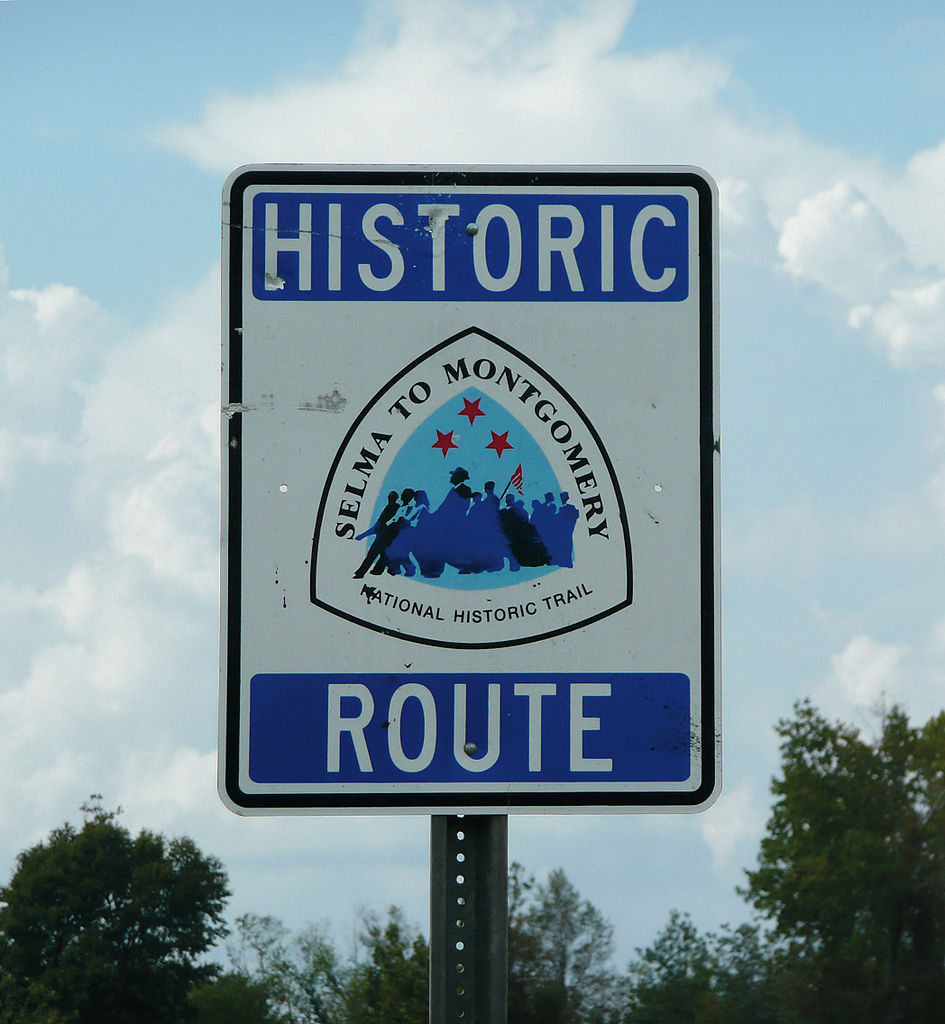 Selma to Montgomery National Historic Trail sign (photograph by PD, via Wikimedia)
