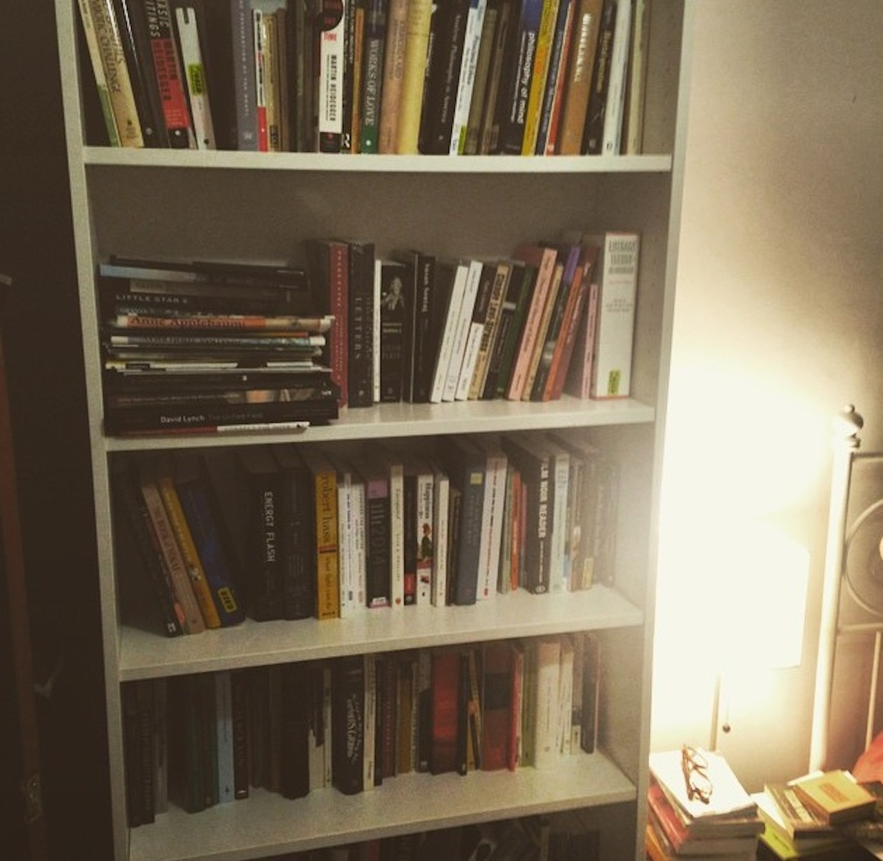 The author's bookshelf (photo by the author for Hyperallergic)