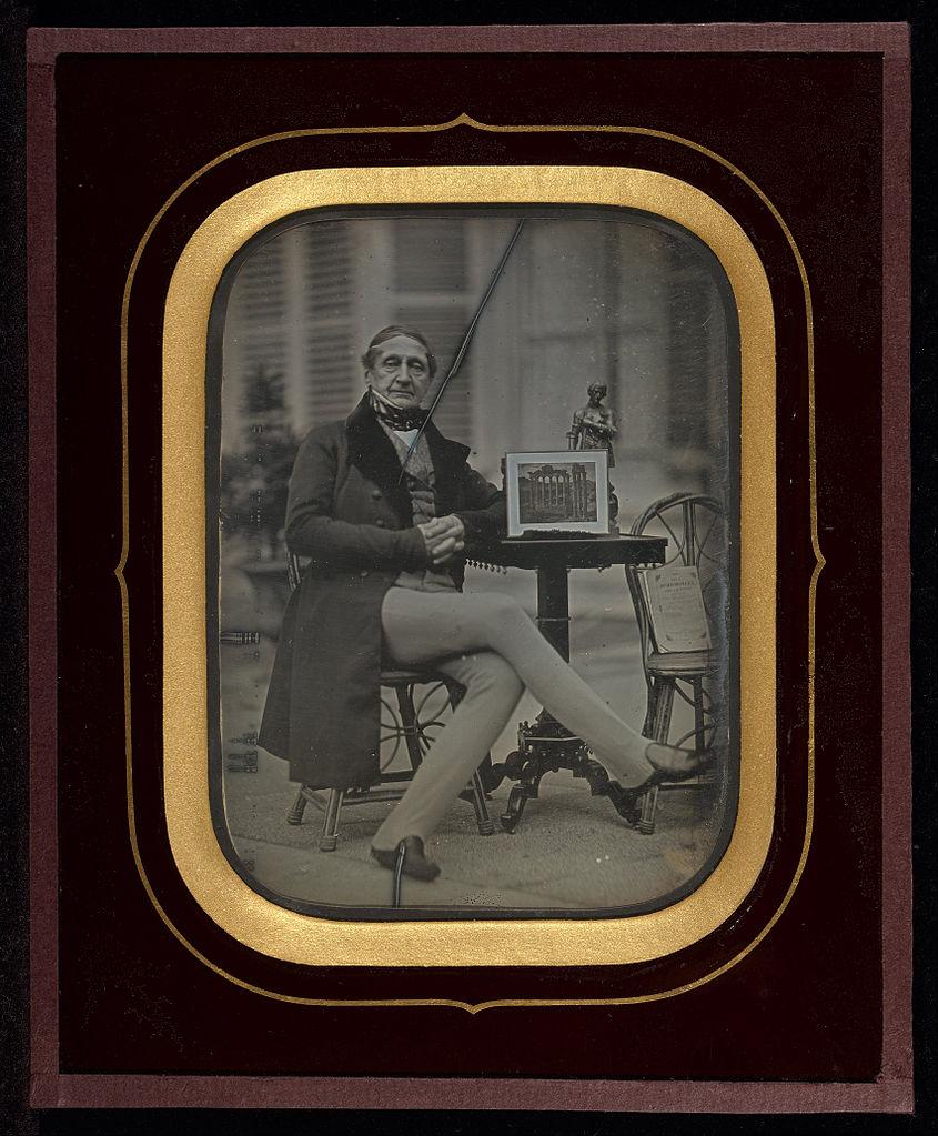 """Jean-Gabriel Eynard, """"Self-Portrait with Daguerreotype of Roman Forum"""" (1845), daguerreotype (J. Paul Getty Museum, via Wikimedia)"""