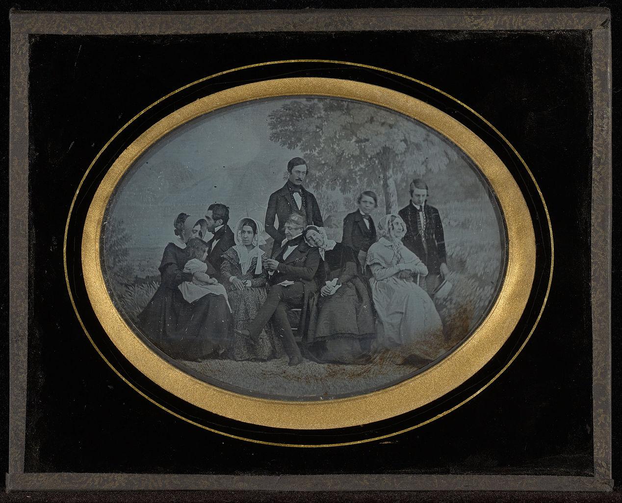 """Jean-Gabriel Eynard, """"Group portrait of ten members of the Circle of Eynard-Lullin"""" (1845), daguerreotype (J. Paul Getty Museum, via Wikimedia)"""