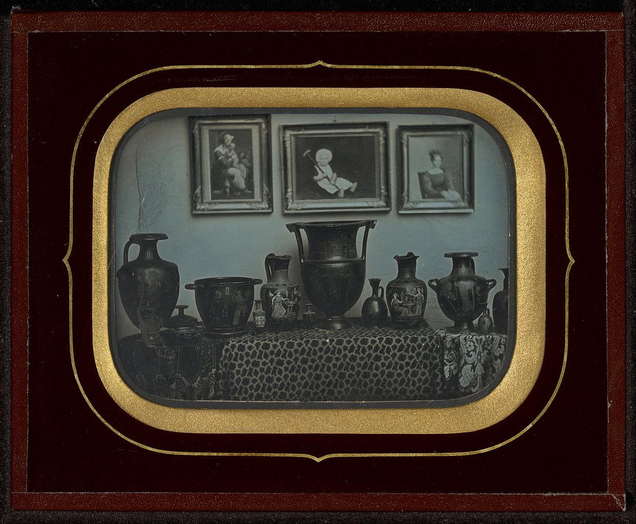 "Jean-Gabriel Eynard, ""Still Life of Greek Vases and Three Paintings"" (1850), daguerreotype (J. Paul Getty Museum, via Wikimedia)"