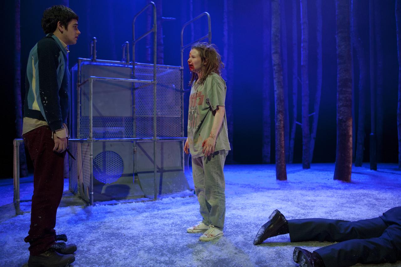 Cristian Ortega as Oskar, Rebecca Benson as Eli in Let the Right One In at St. Ann's Warehouse (photograph by Pavel Antonov)