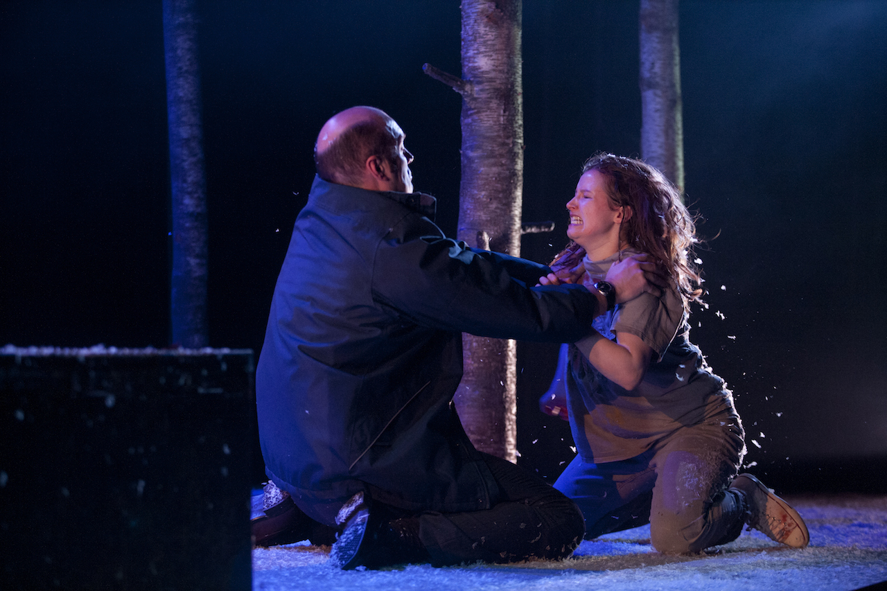 Gavin Kean as Halmberg, the police commissioner; and Rebecca Benson as Eli in 'Let the Right One In' at St. Ann's Warehouse (photograph by Pavel Antonov)