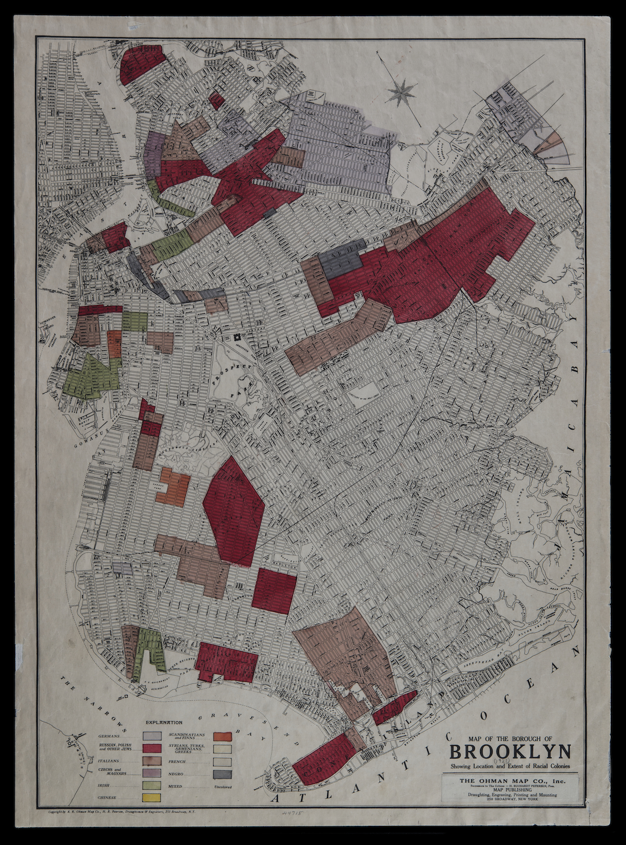 Paired with Kozloff: Map of the Borough of Brooklyn: Showing Location and Extent of Racial Colonies, Ohman Map Co., 1920; Flat Maps B B-[1920].fl; Brooklyn Historical Society.