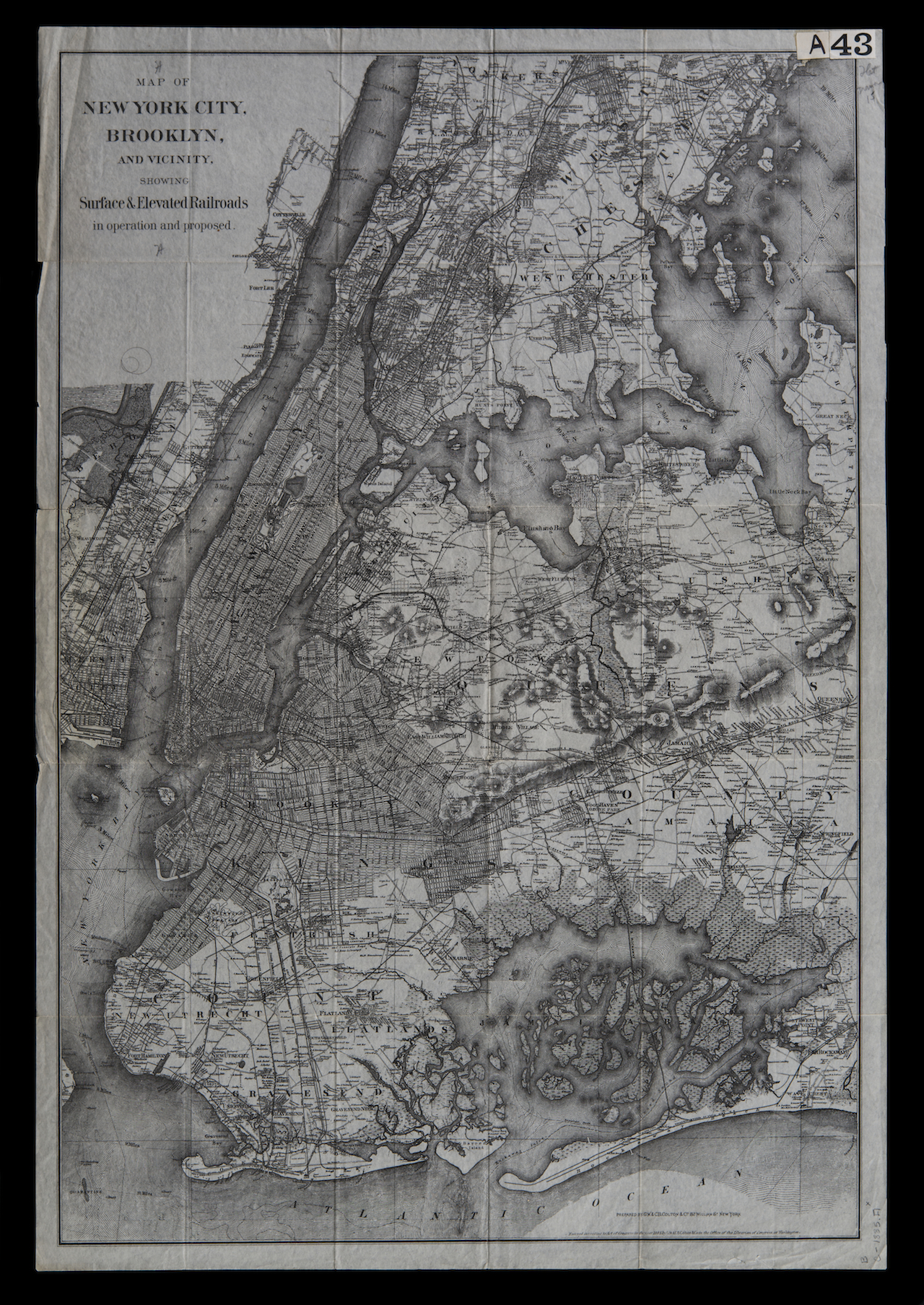 Paired with Gail Biederman: Map of New York City, Brooklyn, and Vicinity: Showing Surface & Elevated Railroads in Operation and Proposed, G.W. & C.B. Colton, circa 1885; Flat Maps B C-1885.fl; Brooklyn Historical Society