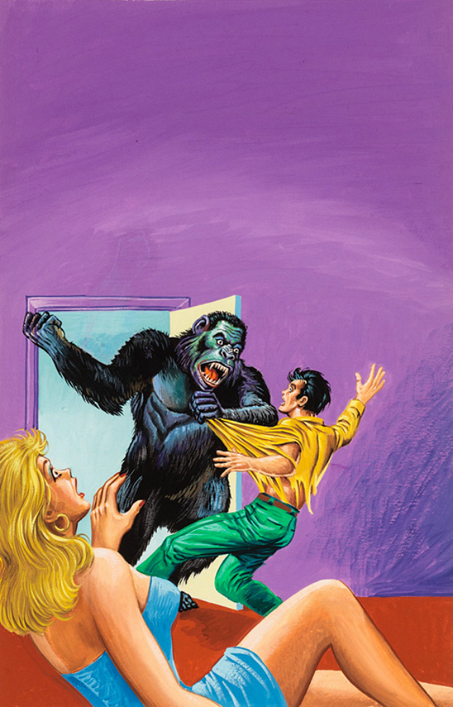 """""""Untitled"""" (Gorilla attacking man as horrified woman watches) (1960-75), tempera on illustration board, 15 x 11 in, 38.1 x 27.94 cm"""