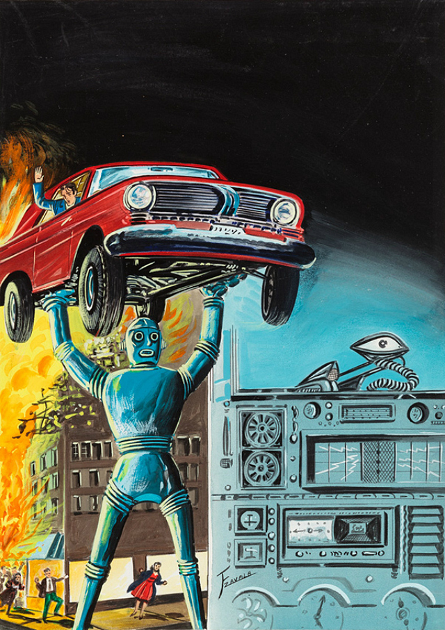 """F Zavala, """"Untitled"""" (Robot holding red car in air as city burns in background) (1960-75), tempera on illustration board, 15 x 11 in, 38.1 x 27.94 cm"""