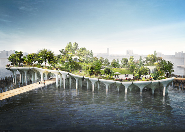 """The proposed """"private"""" park on the Hudson River in Manhattan."""