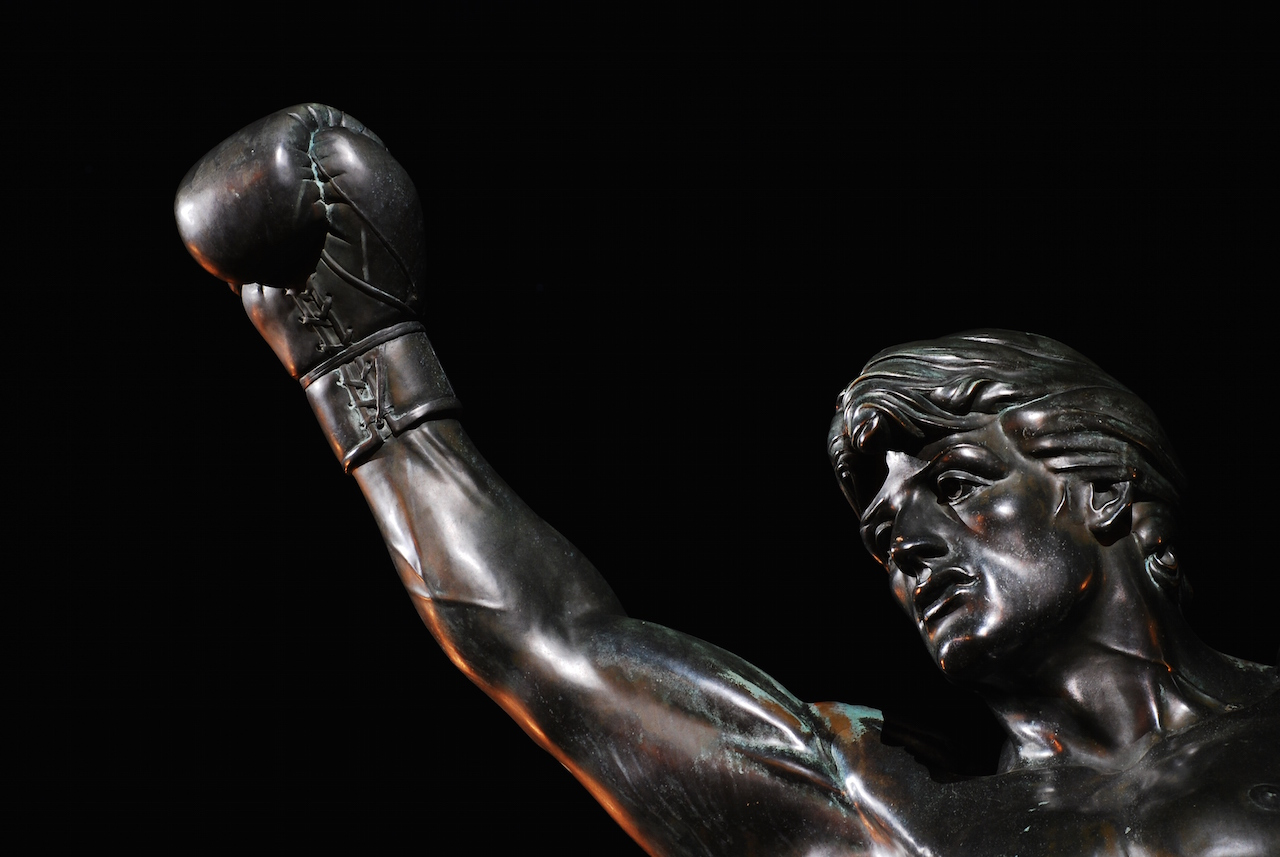A sculpture of Rocky outside the Philadelphia Museum of Art (photo by Ben Yanis/Flickr)