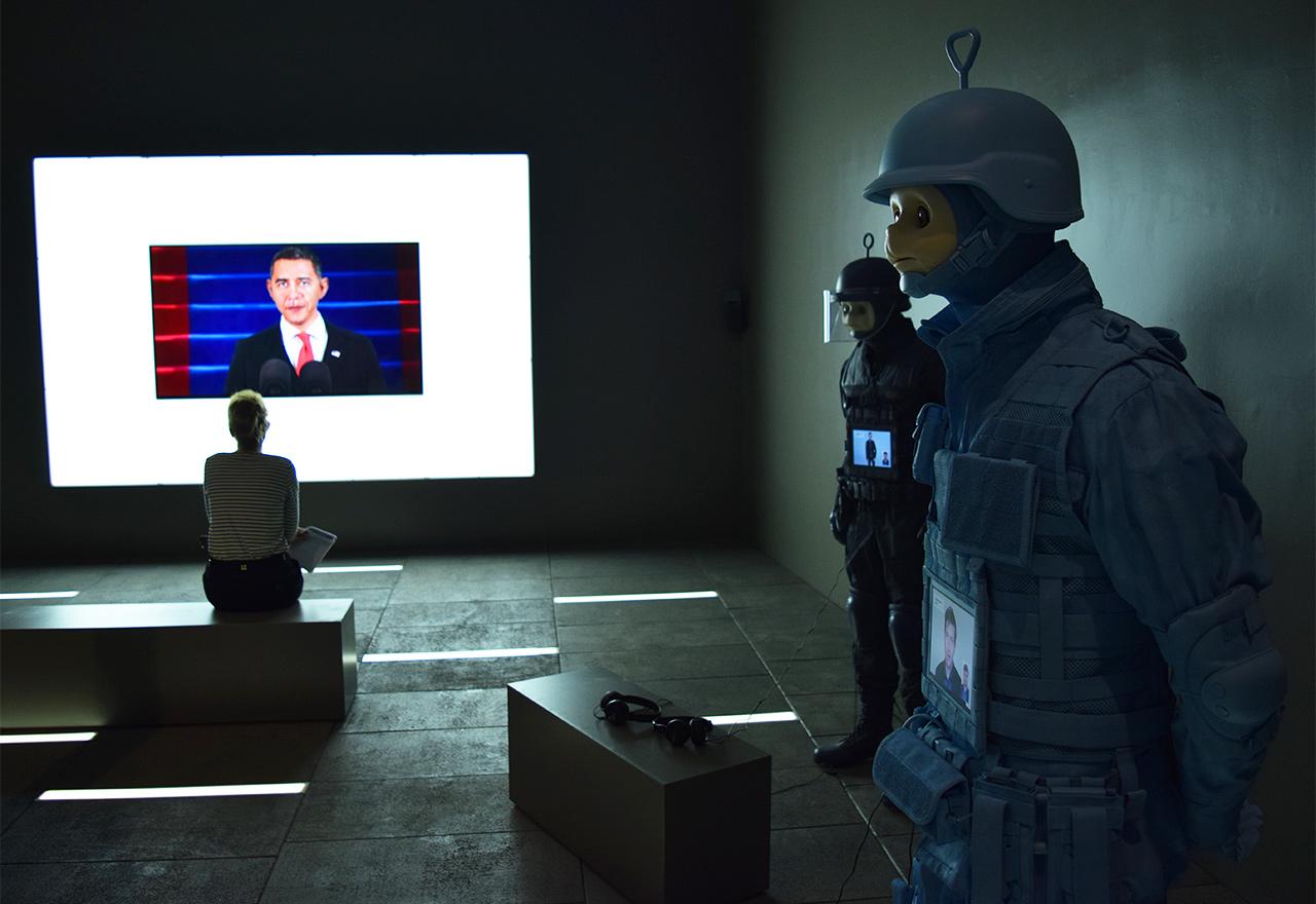"Installation view of Josh Kline, ""Freedom"" (2015)"