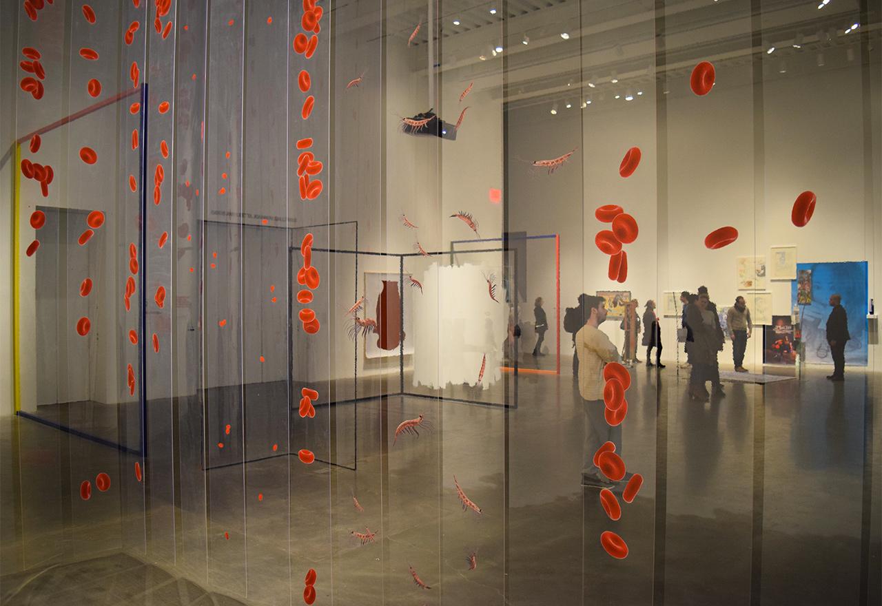 "Fourth floor installation view of 'Surround Audience' as seen through Aleksandra Domanović's ""SOHO (Substances of Human Origin)"" (2015)"