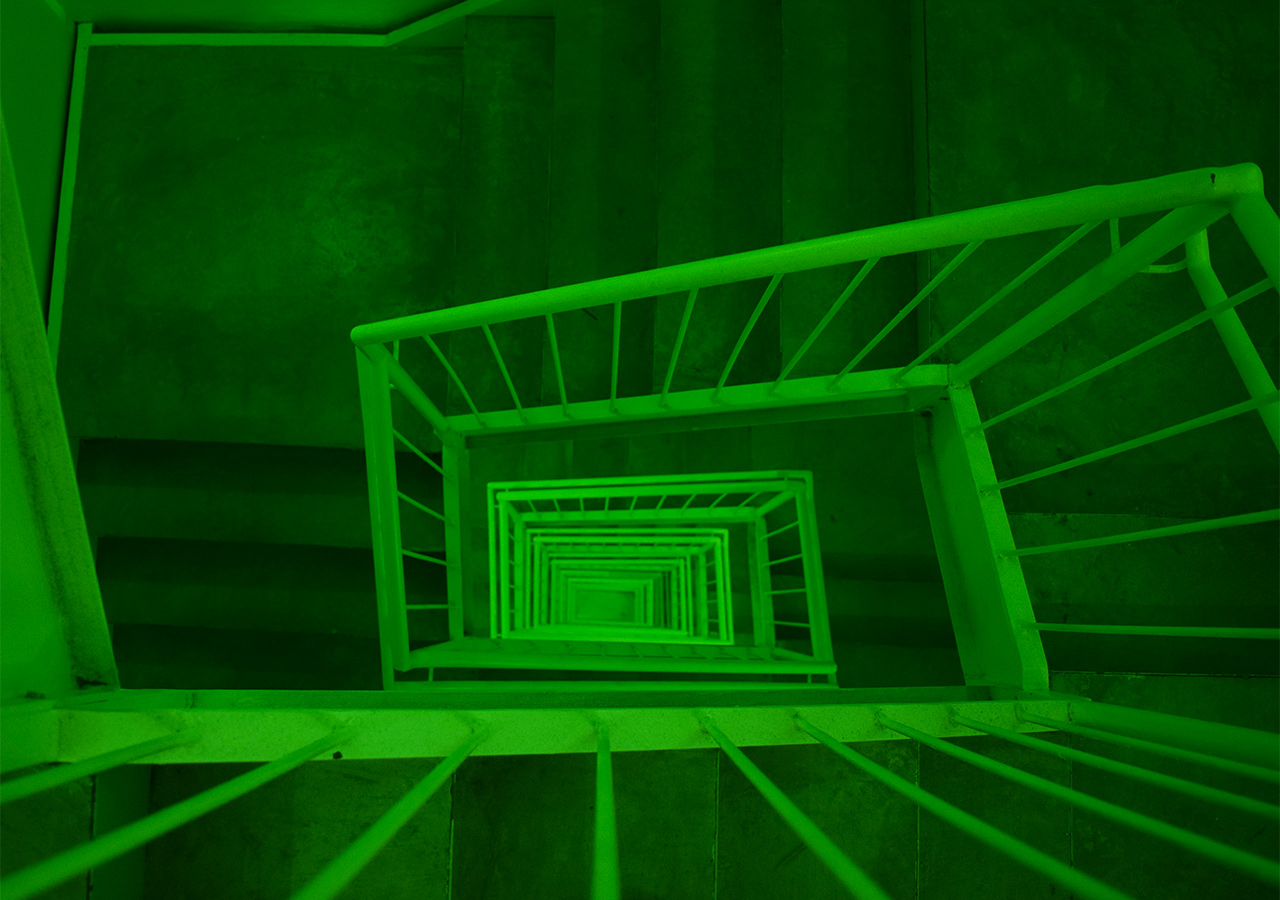"""Ashland Mines's sound and light installation in the New Museum stairwell, """"promise of echo"""" (2015)"""