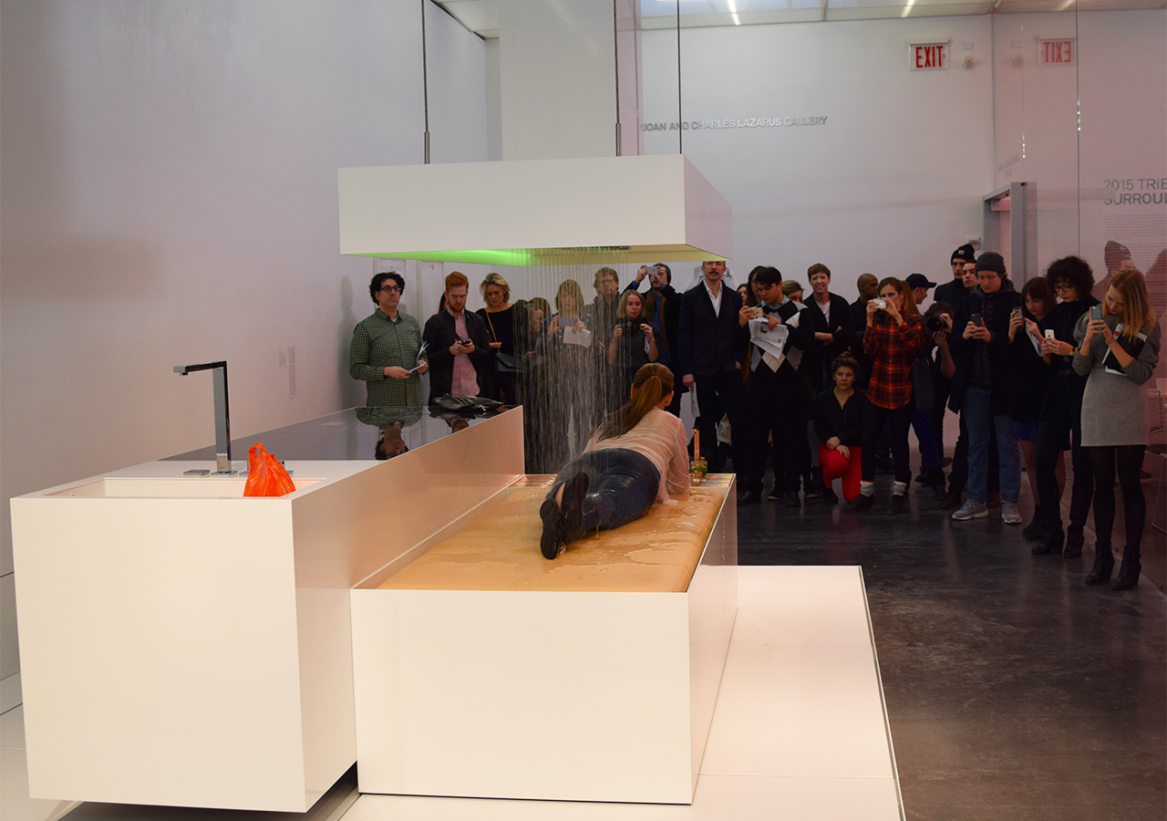"""Visitors watch a performance of DIS's """"The Island (KEN)"""" (2015)"""