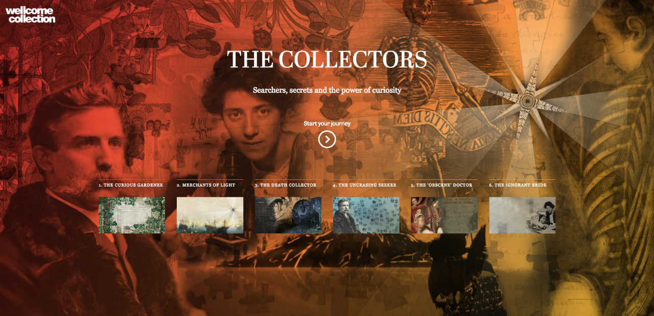 """Starting page for Wellcome Collection's """"The Collectors (screenshot by the author for Hyperallergic)"""