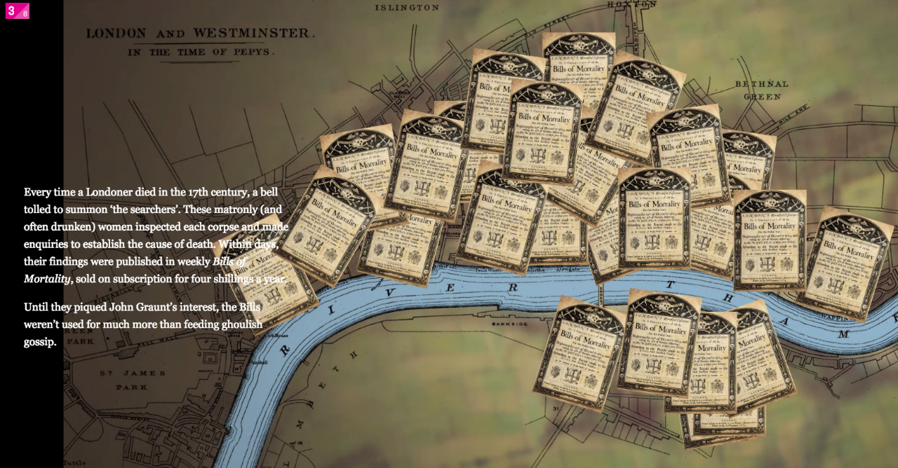 """Bills of mortality accumulating on a map of London in """"The Collectors (screenshot by the author for Hyperallergic)"""