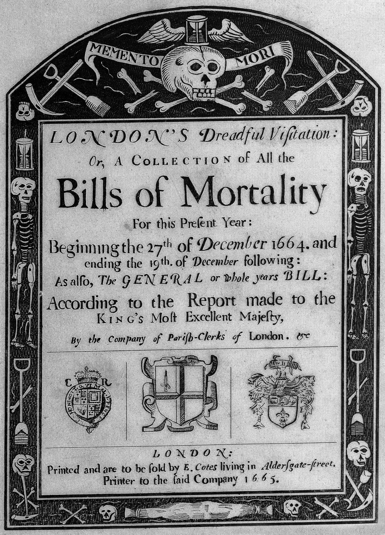 Title page to a statistical analysis of mortality for the plague in London of 1665 (courtesy Wellcome Library)