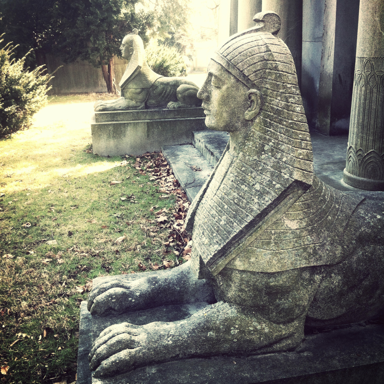 Sphinxes at Woodlawn Cemetery in the Bronx (all photos by the author for Hyperallergic)