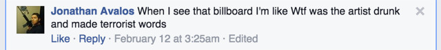 Comment on Las Cruces Sun News's Facebook page (Screenshot by the author for Hyperallergic)