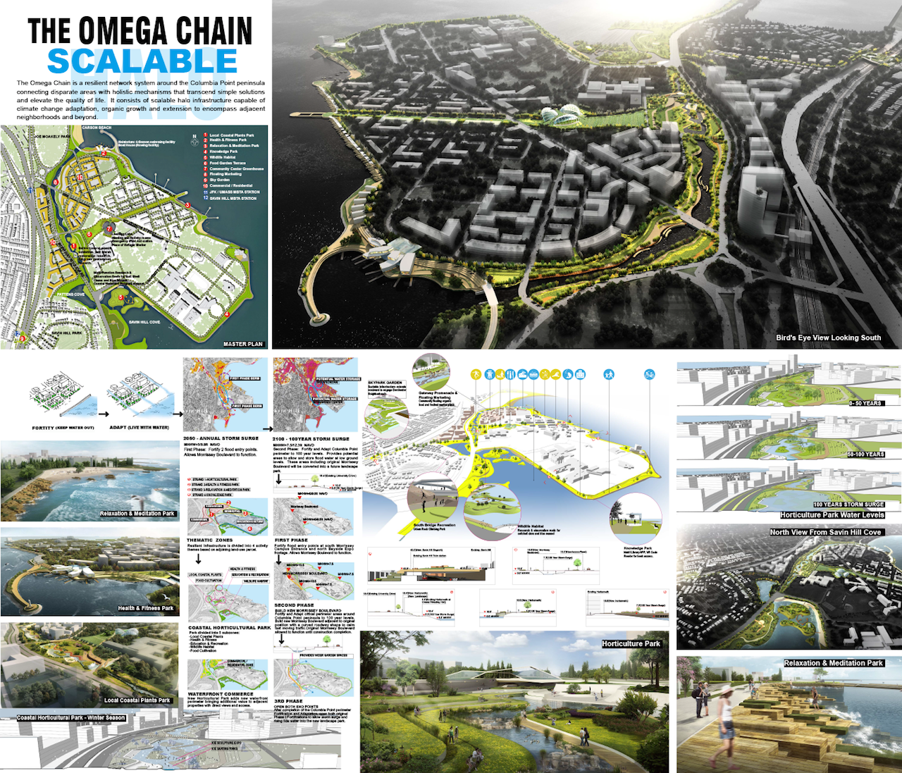 """""""The Omega Chain"""" led by Howard & Cavaluzzi Architects Int. LLC, Beijing Office – The Omega Chain would be a resilient network system around the Columbia Point peninsula that connects disparate areas with holistic mechanisms that transcend simple solutions and elevate quality of life for residents. It contemplates gradually converting the existing Morrissey Boulevard into a landscaped park and constructing a new elevated and curved roadway adjacent to the park to calm fast-moving traffic."""