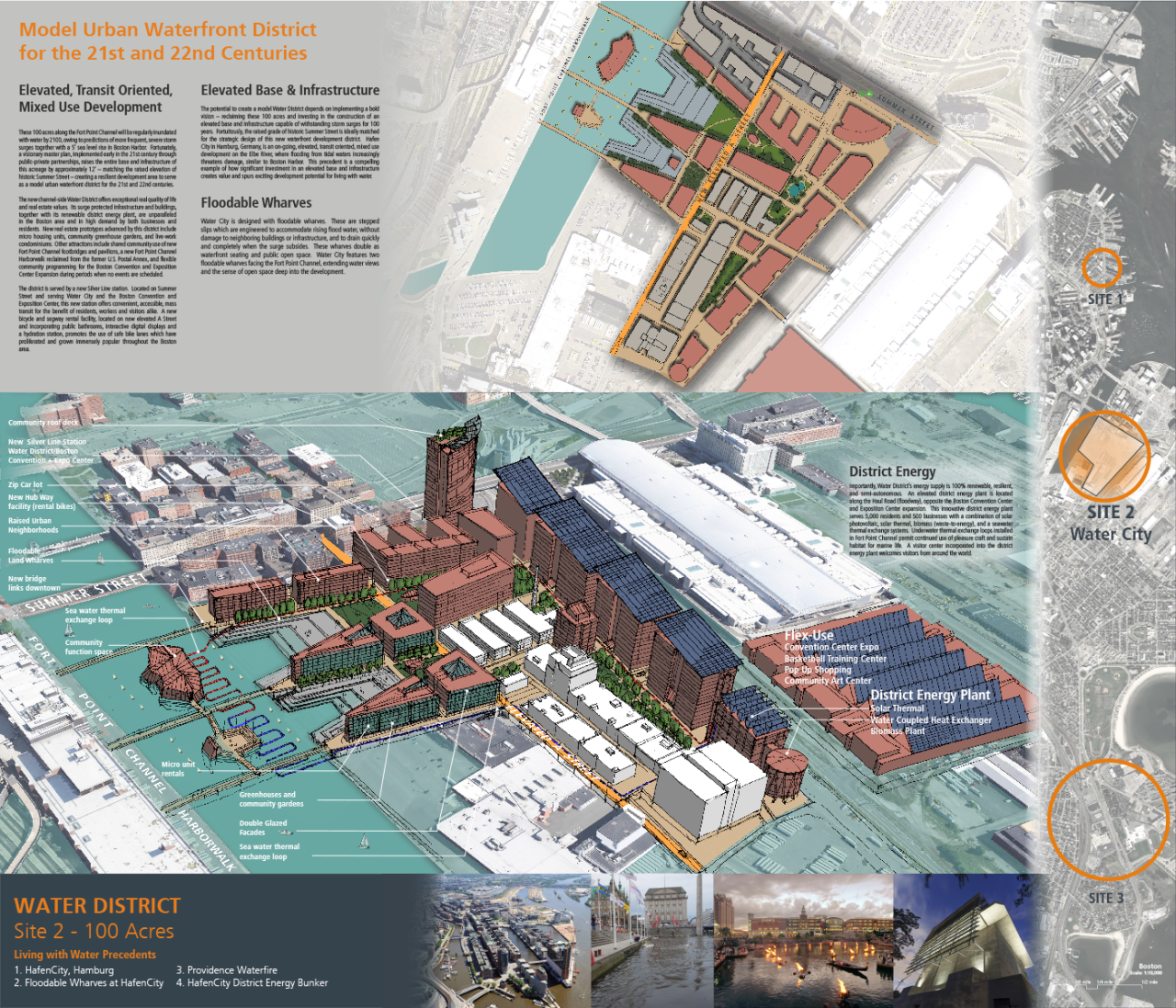 """""""Model Urban Waterfront District"""" led by Architerra Inc.– This proposal would raise the entire base and infrastructure of the 100-acre neighborhood by approximately twelve feet, matching the  raised elevation of historic Summer Street and creating a resilient development area to serve as a model urban waterfront district for the 21st and 22nd centuries."""